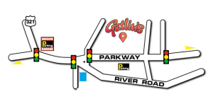 layout of gatlinburg tn with gatlins marked on it