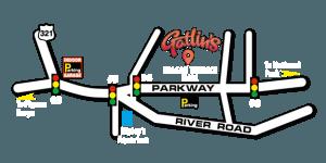layout of gatlinburg tn with gatlins marked on it